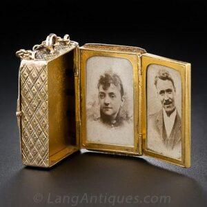 Victorian Multi-Photo Book Locket, Open.