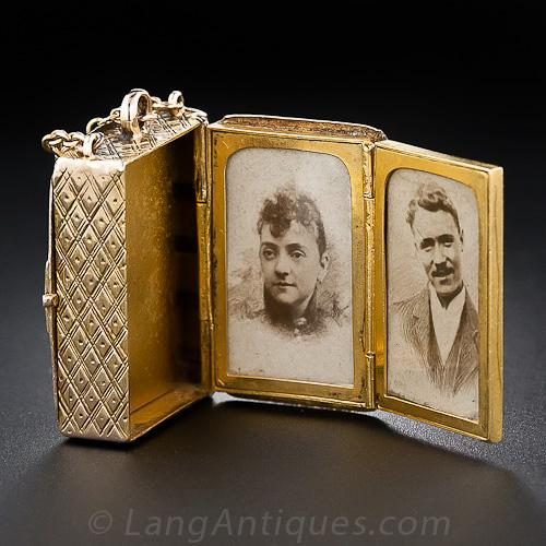 Victorian Multi-Photo Book Locket, Open.