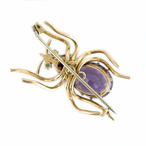 Reverse View of Antique Amethyst and Garnet Spider Brooch Featuring the Pinstem.