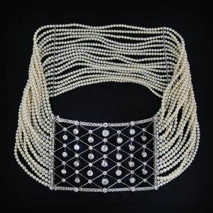 Edwardian Diamond and Mulit-Strand Pearl Collier de Chien.