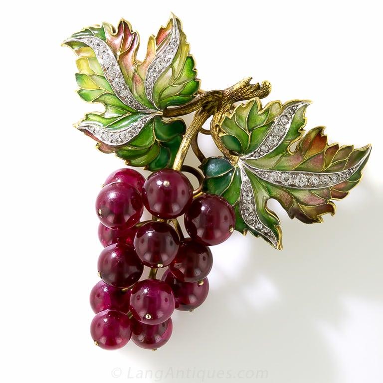 Plique-à-Jour Enamel, Diamond and Red Ruby Grape Cluster Brooch.
