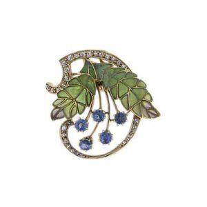 Art Nouveau Brooch with Plique-á-Jour Multi-Celled Leaves.