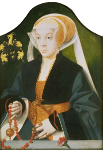 Portrait of a Woman Holding a Pomander on a Beaded Cord by Barthel Bruyn the Elder. Date ca. 1547