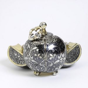 Pomander, Partially Gilded Silver, Niello. Italy, c.1350.