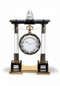 Cartier Portique Mystery Clock. Sinto Gate. Rock Crystal, Gold, Enamel, Platinum and Coral, c.1923.