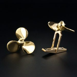 18K Yellow Gold Propeller Cuff Links.