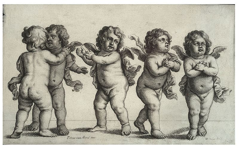 Four Putti and a Small Boy Standing, Wenzel Hollar (1607–1677)