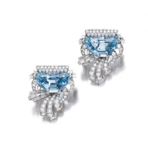 Raymond Yard Aquamarine and Diamond Brooches.