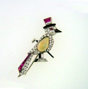 Raymond Yard Diamond, Ruby, Opal and Enamel Dapper Bird Brooch. Photo Courtesy of Francis Klein Classic Jewels