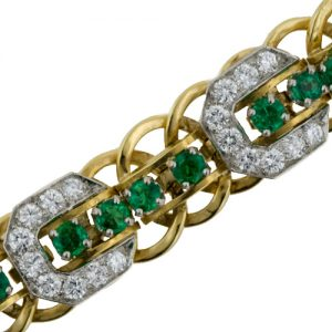 Raymond Yard Emerald, Diamond and Yellow Gold Bracelet. Photo Courtesy of Francis Klein Classic Jewels.
