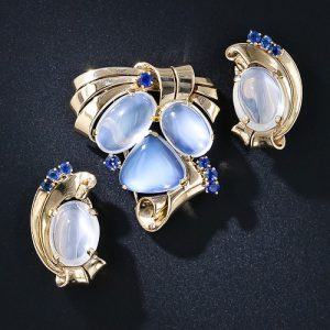 Raymond Yard Moonstone Brooch and Earrings.