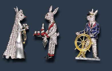 Collection of Raymond Yard Rabbit Brooches.