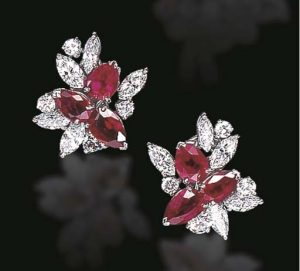 Raymond Yard Diamond and Ruby Ear Clips.