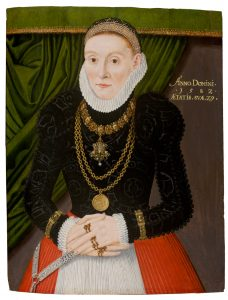 Portrait of a Lady Depicting Jewelry and High Collar, Ear Obscuring Fashion. 1582, Germany.