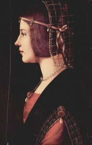 Portrait of a Lady The Painting Depicts a Woman with Jeweled Hair. c.1490. by Giovanni Ambrogio de Predis.