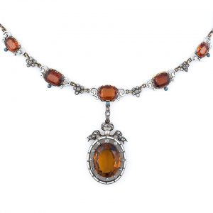 Renaissance Revival Citrine and Hessonite Garnet Diamond and Enamel Necklace.
