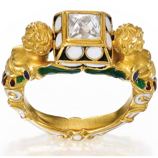 Renaissance Revival Diamond Enamel Ring.jpg