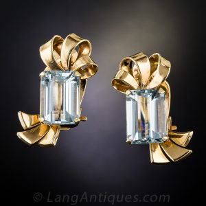 Retro Aquamarine Ribbon Motif Clip Earrings