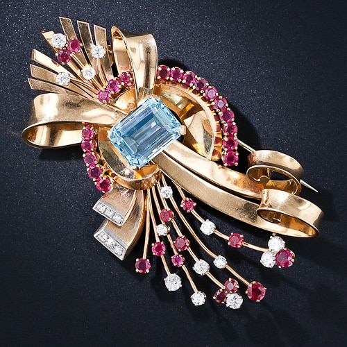Retro Aquamarine Ruby Diamond Brooch.jpg