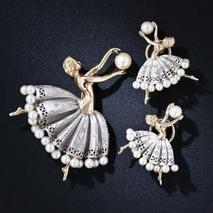 Ballerina Brooch and Matching Earrings.