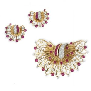 Retro Diamond and Ruby Fan Motif Demi-Parure. c.1940.