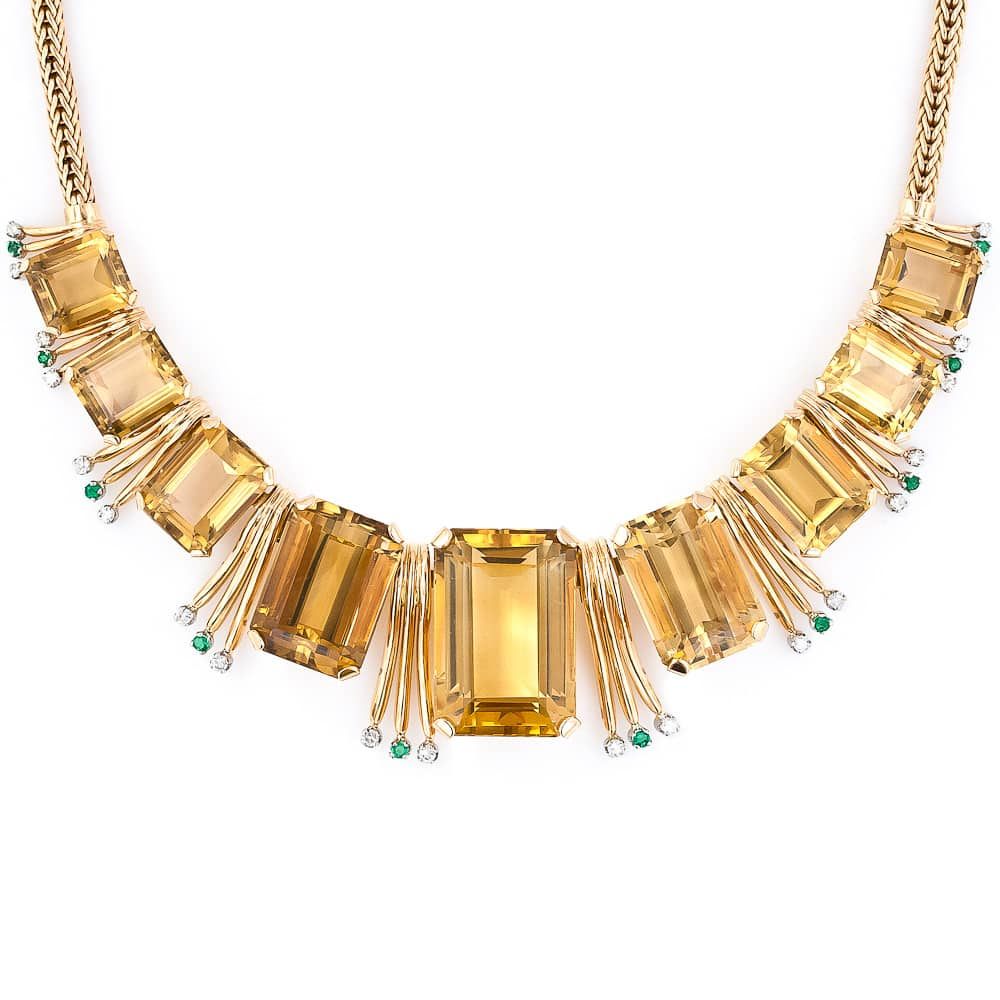 Retro Citrine Emerald and Diamond Necklace.jpg