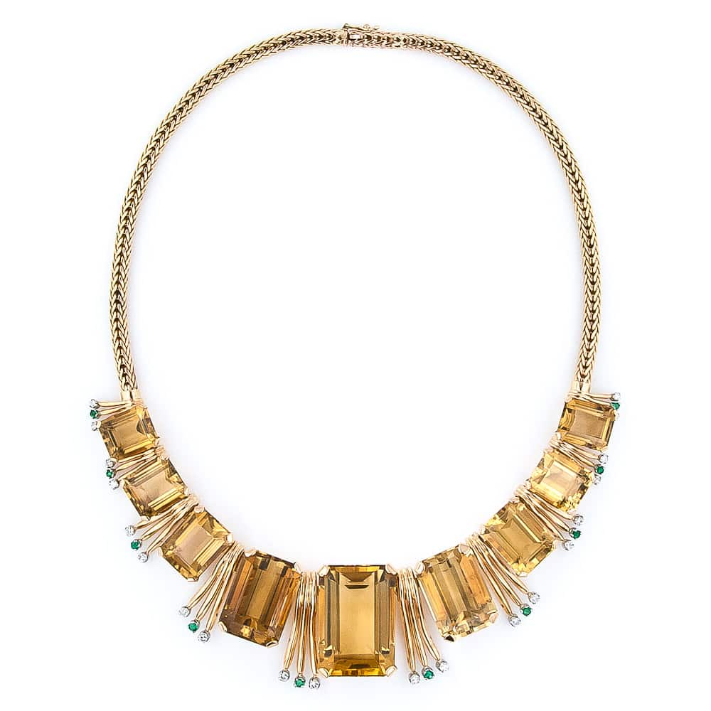 Retro Citrine Emerald and Diamond Necklace2.jpg