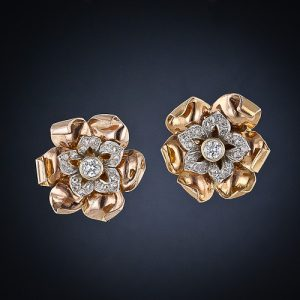 Diamond Center Floral Earclips.