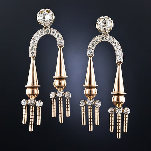 Retro Diamond Platinum Rose Gold Earrings.jpg