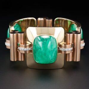 Retro Cabochon Emerald Gold Bracelet.