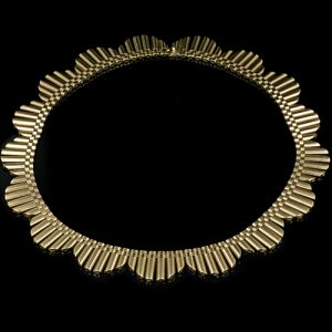 Retro Gold Tubular Fringe Necklace.
