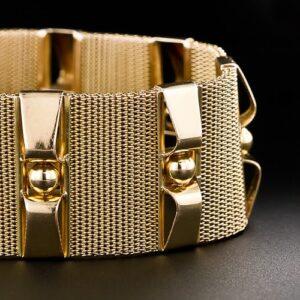 Retro Mesh and Pillar 18K Gold Bracelet.