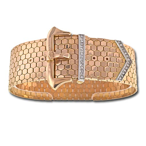 Retro Honeycomb Gold Buckle Bracelet.jpg