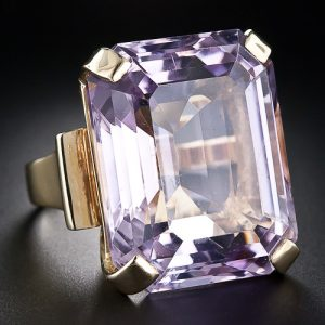 Retro 70 Carat Kunzite Ring with Bold Gold Mount.