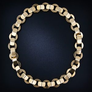 Retro Gold Architectural Link Necklace. Converts to a Pair of Bracelets.