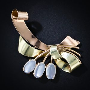Retro Moonstone Bi-Color Gold Combination Brooch and Pendant.