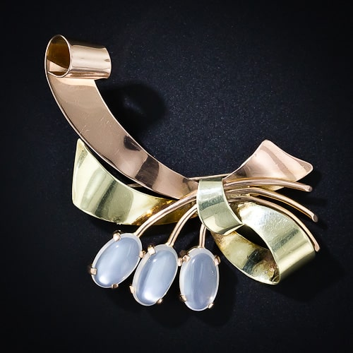 Retro Ribbon Moonstone Brooch.jpg