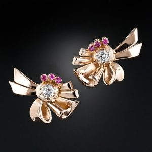 Ruby & Diamond Retro Ribbon Earclips.