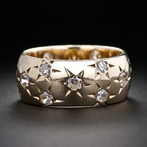Retro Star-Set Diamond and Yellow Gold Band.