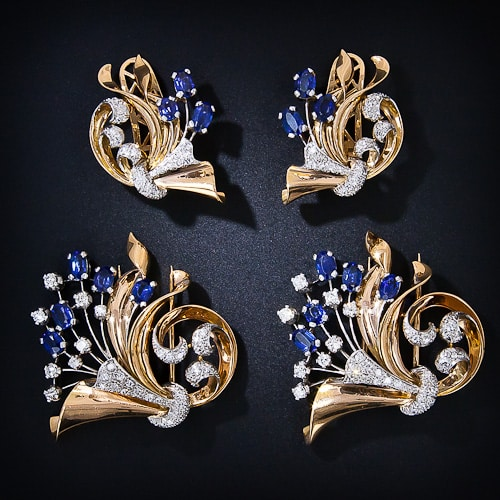 Retro Synthetic Sapphire Clips and Earclips Parure.jpg