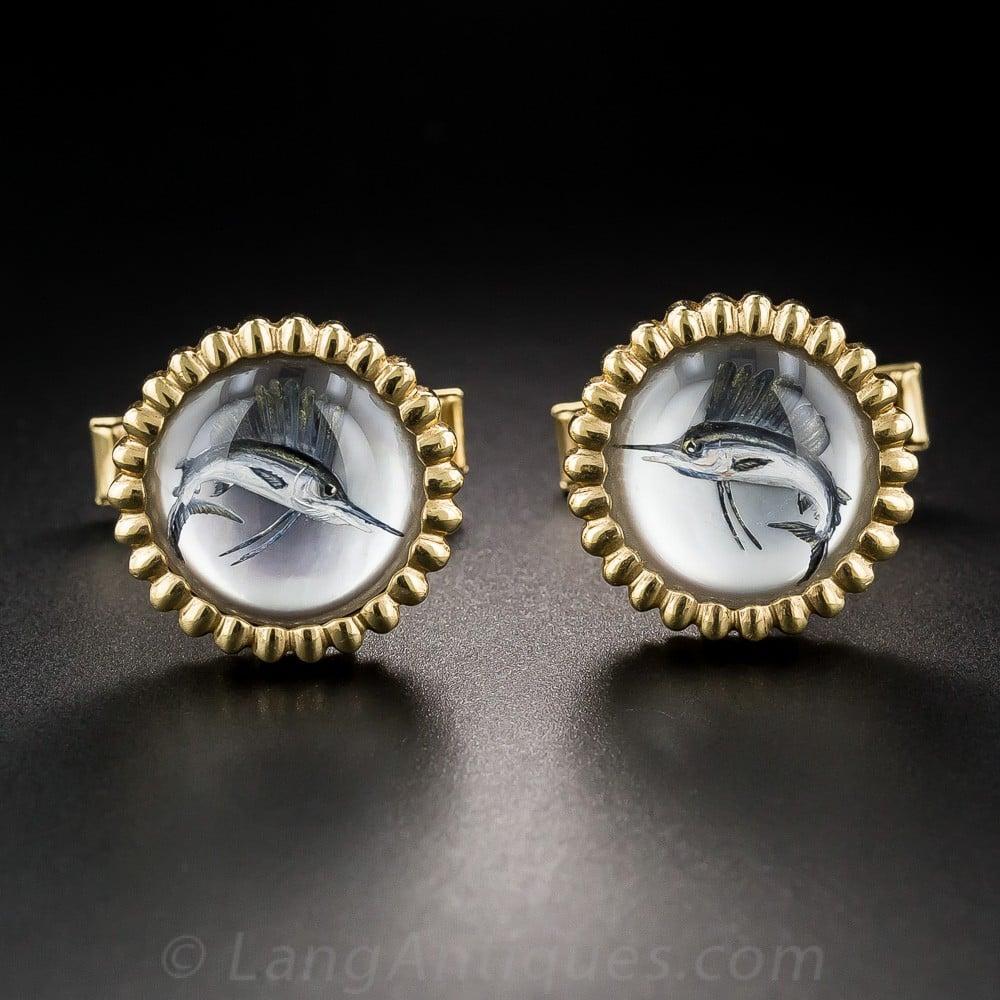 Reverse Crystal Intaglio Sailfish Cuff Links.
