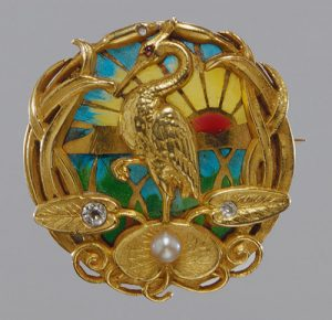 Riker Brothers Plique-a-Jour Gold Watch Brooch.