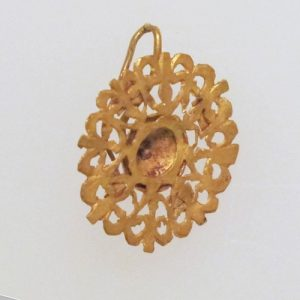 Roman Disk Earring with Pierced Design. 1-500 A.D., Roman Empire.