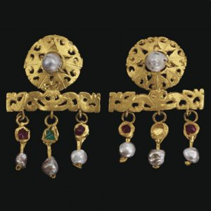 Openwork Disk Earrings Suspending a Trio of Pendants with Glass Inlay and Pearls. c. 3rd Century, Rome.