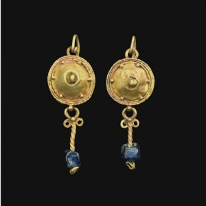 Gold Disk and Blue Glass Pendant Earrings.2nd-3rd Century, Rome.