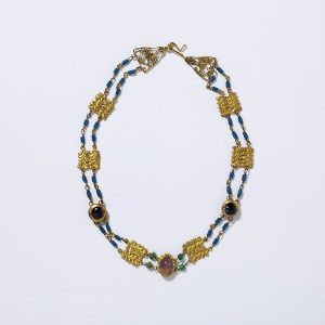 Roman Amethyst, Emerald, Blue Glass and Gold Necklace c.3rd Century.