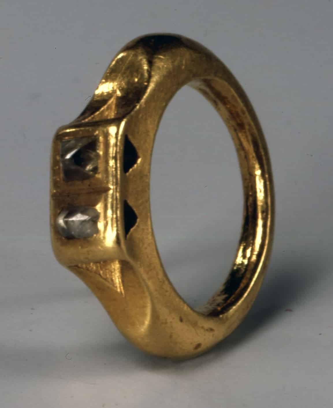 Roman Ring Featuring Two Diamond Crystals.