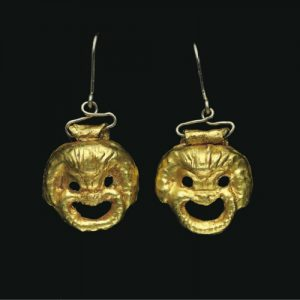 Earrings Designed as a Pair of Comic Slaves/Theater Masks. 1st Century, Rome.