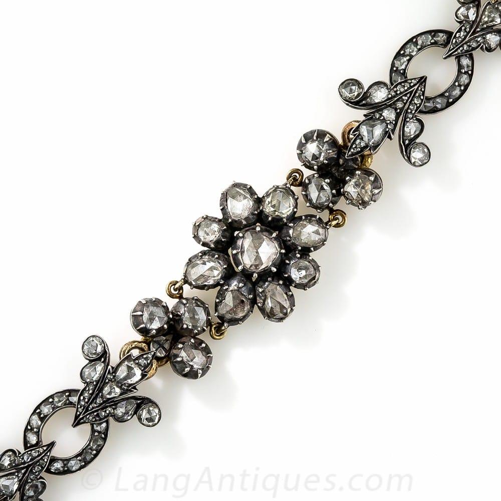 Antique French Rose-Cut Diamond Floral Bracelet.