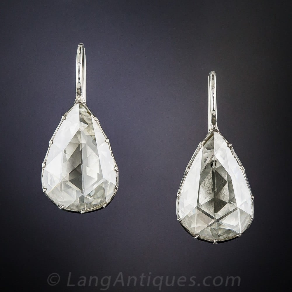 Pear-Shaped Rose-Cut Diamond Earrings In Foil-Backed Mountings, c.mid 20th Century.
